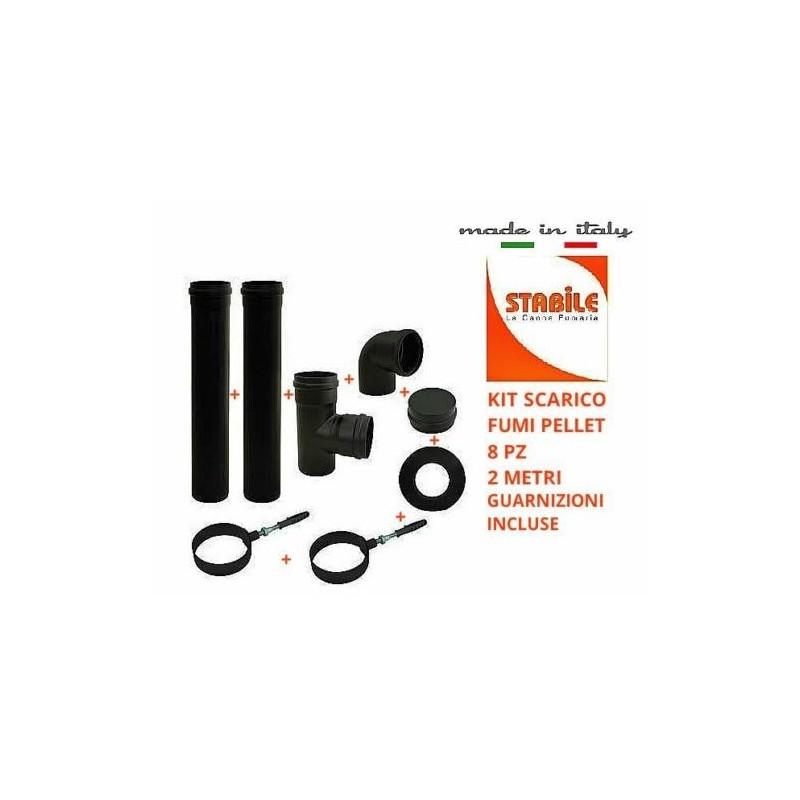 Kit set scarico fumi stufa a pellet 8pz 2ml alluminio nero con guarnizione tubi - Tubi scarico fumi stufe a pellet ...