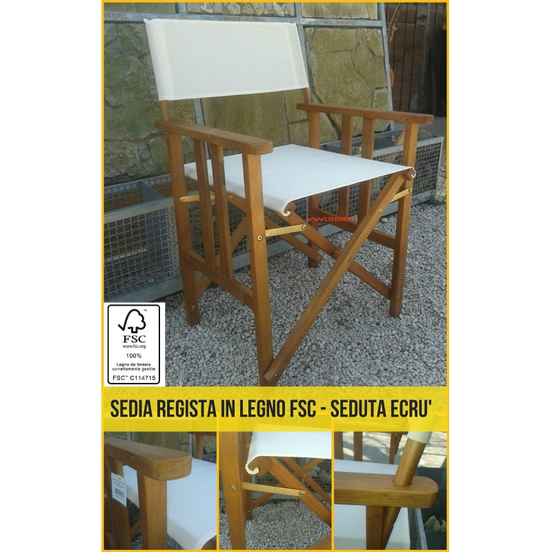 Sedia regista in legno fsc poltrona giardino finitura teak for Sedia uovo giardino