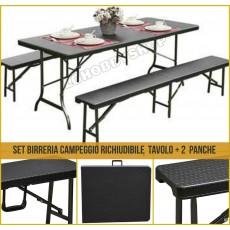 Tavolo e panche richiudibili in valigette polirattan