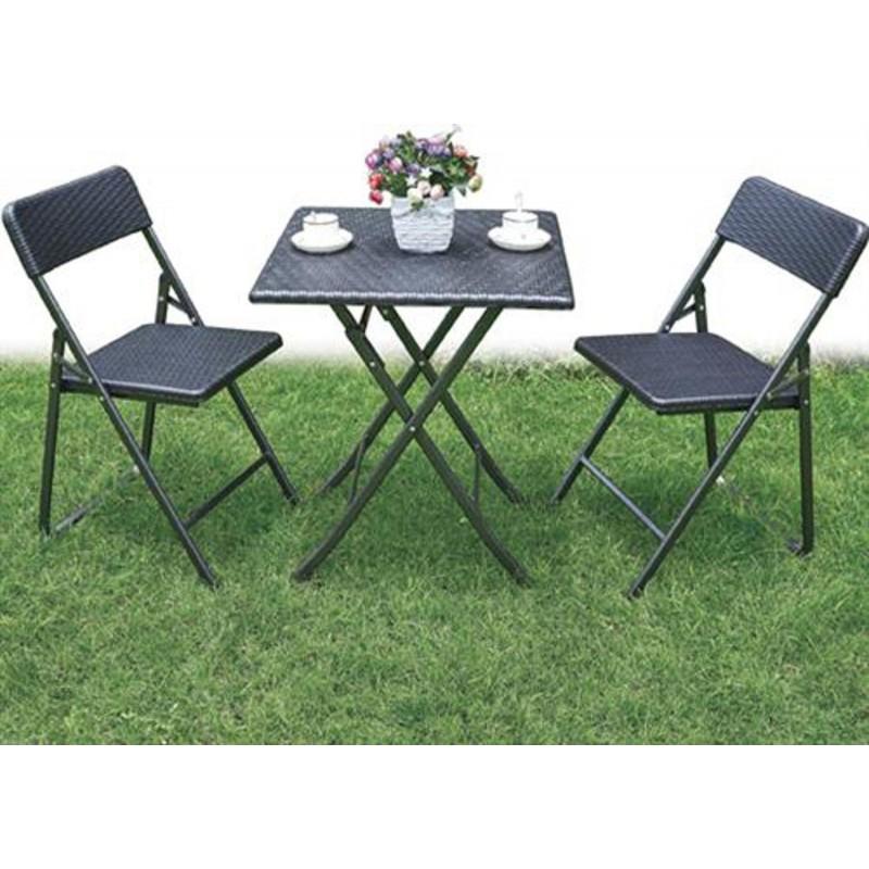 Set polyrattan tavolo 2 sedie pieghevoli richiudibili - Sedie giardino rattan ...
