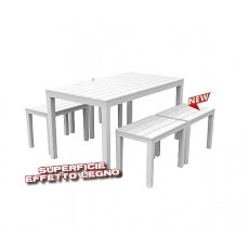 Set da giardino effetto legno Samoa tavolo + panche