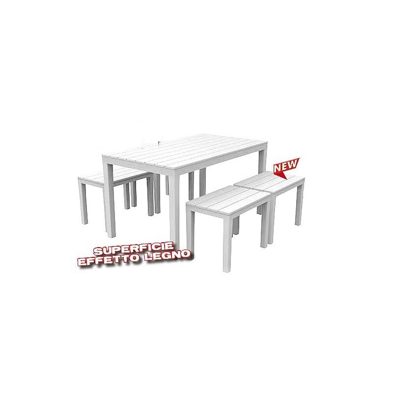Set da giardino effetto legno samoa tavolo panche for Tavolo degli hobby