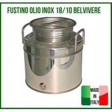 FUSTO FUSTINO OLIO VINO INOX 30 LITRI CONTENITORE BELVIVERE ACCIAIO 18/10 30LT