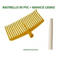 Scopa Rastrello 22 denti morbidi PVC per raccolta olive 39 cm con manico legno