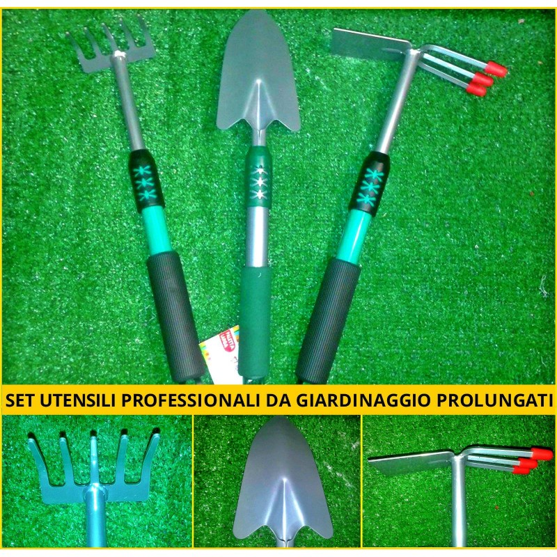 Set 3 utensili giardinaggio professionale paletta zappetta rastrello alluminio