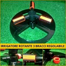 Irrigatore rotante giardino 3 bracci regolabili innaffiatura irrigazione prato orto