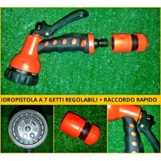 Pistola lancia a getto regolabile 7 funzioni, idropistola giardino con raccordo