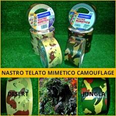 NASTRO ADESIVO MIMETICO TELATO MILITARE CAMO FLECKTARN CACCIA PESCA SOFTAIR