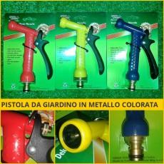 Pistola da giardino in metallo, idropistola, lancia, colorata, attacco rapido