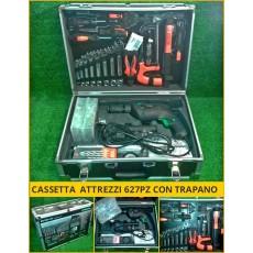 Set cassetta attrezzi completa 627 pz con trapano + valigia alluminio utensili