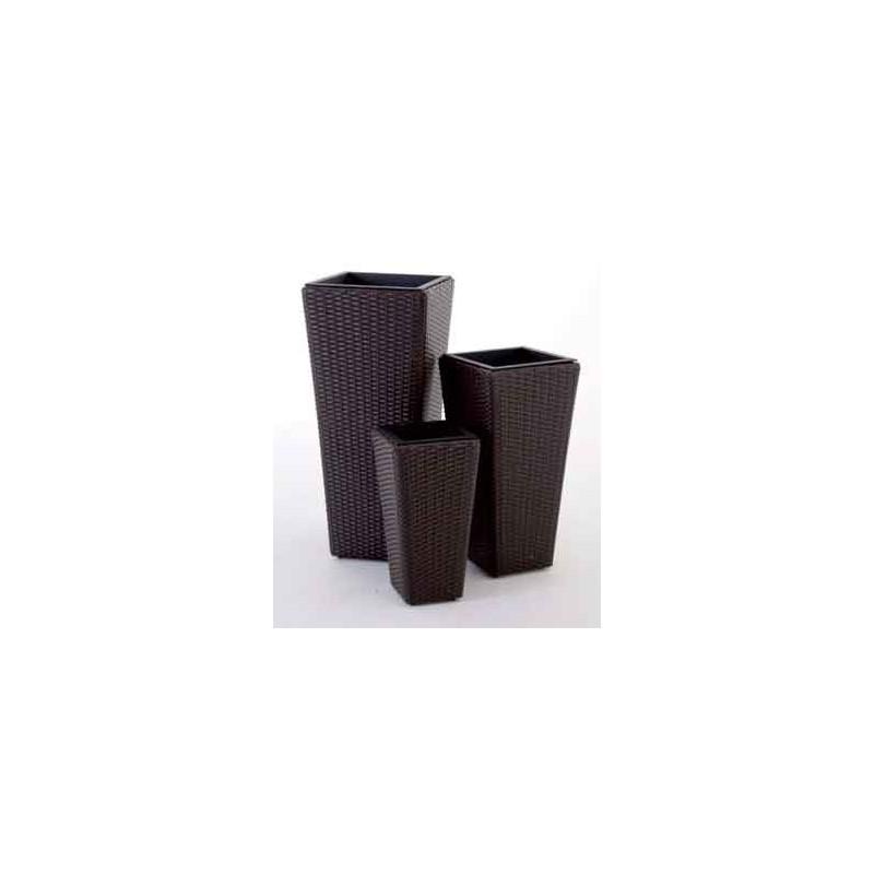 Set 3 vasi da arredamento areca in polyrattan fioriere for Vasi in rattan