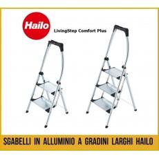 Sgabello in aulluminio gradini larghi Hailo, scala con parapetto, scaletta