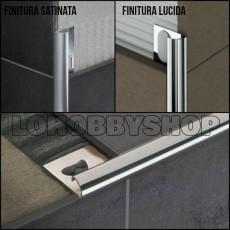 Angolo per piastrelle alluminio satinato mm 8
