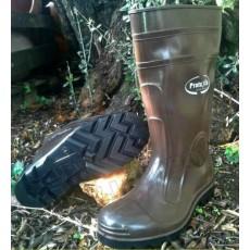 Stivali in gomma marroni alta qualità suola carrarmato al ginocchio