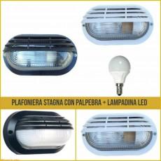 Plafoniera da esterno con palpebra e lampadina