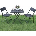 Set polyrattan tavolo + 2 sedie pieghevoli, richiudibili effetto rattan giardino