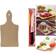 Tagliere in legno + coltello per arrosti affettati salumi formaggi crostini