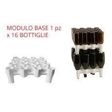 Scolabottiglie sovrapponibile impilabile modulare con bacinella 32 bottiglie