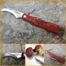 Coltello per raccolta da funghi a serramanico con spazzolino pulizia coltellino