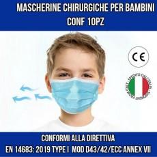 Mascherina Chirurgica Pediatrica per bambini 10pz